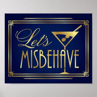 Navy Gold Art Deco LET'S MISBEHAVE Sign Print