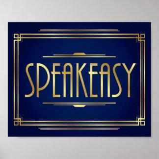 Navy Gold Art Deco SPEAKEASY Sign Print