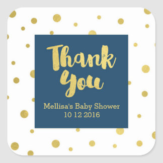 Navy Gold Baby Shower Thank You Favor Sticker
