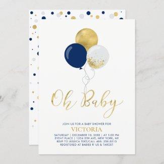 Navy & Gold Balloons, Oh Baby Boy Baby Shower Invitation