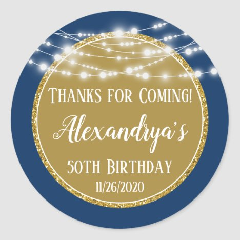 Navy Gold Birthday Thanks For Coming Favor Tags