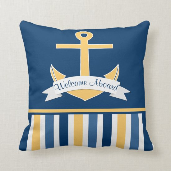 Navy Gold Blue Nautical Stripes Gold Anchor Banner Throw Pillow
