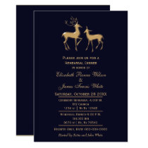 navy gold buck and doe rehearsal dinner invitation