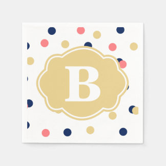 Navy Gold Coral Polka Dot Monogram Napkins