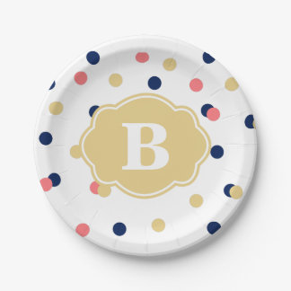 Navy Gold Coral Polka Dot Monogram Paper Plate 7 Inch Paper Plate