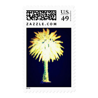 Navy Gold Date Canary Island Palm Tree Postage