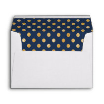 Navy Gold Dots Pattern Wedding Set Lined Envelope