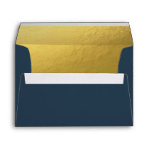 Navy Gold Envelope Elegant Modern Navy Blue Shower
