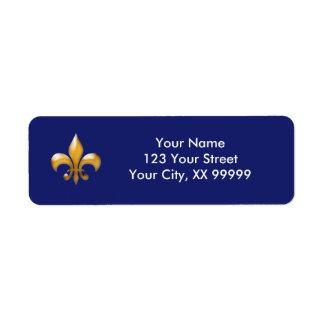 Navy Gold Fleur de Lis Return Address Labels