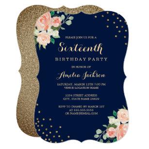16th birthday invitations announcements zazzle navy gold floral confetti 16th birthday party invitation stopboris Images