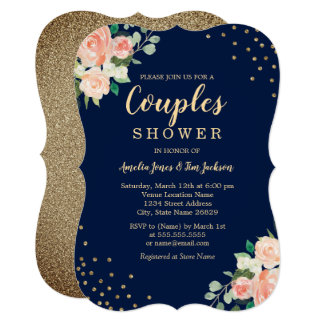 Navy Gold Floral Confetti Wedding Couples Shower Invitation