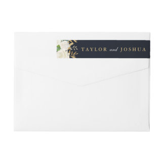 Navy Gold Floral Watercolor Wrap Around Label