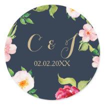 navy gold floral wedding classic round sticker