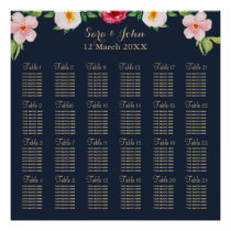 navy gold floral wedding poster