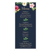 navy gold floral wedding rack card