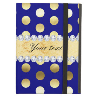 Navy Gold Foil Polka Dots Diamonds Case For iPad Air