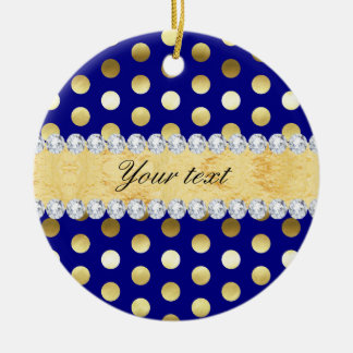 Navy Gold Foil Polka Dots Diamonds Ceramic Ornament