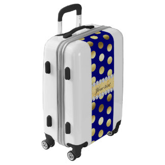 Navy Gold Foil Polka Dots Diamonds Luggage
