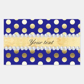 Navy Gold Foil Polka Dots Diamonds Rectangular Sticker