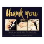 Navy Gold Foil Thank You Script Typography Photo Postcard