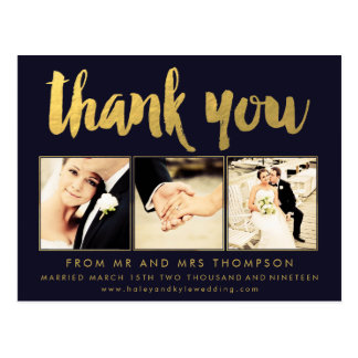 Navy Gold Foil Thank You Script Typography Photo Postcard