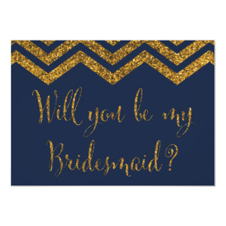 Navy & Gold Glitter | Will You Be My Bridesmaid? 5x7 Paper Invitation Card