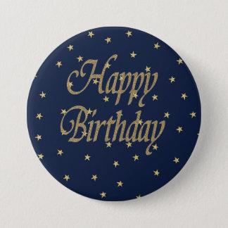 Navy Gold  Happy Birthday Button