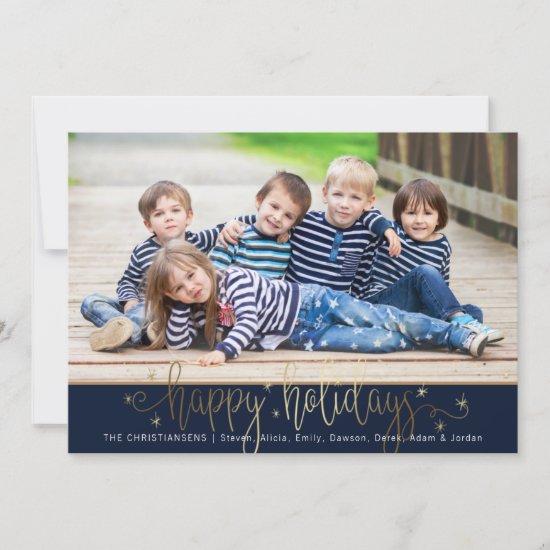 Navy & Gold HAPPY HOLIDAYS Handwritten Script Holiday Card