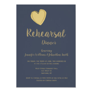 Navy gold heart rehearsal dinner invitations