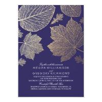 Navy Gold Leaves Vintage Fall Wedding Invitation