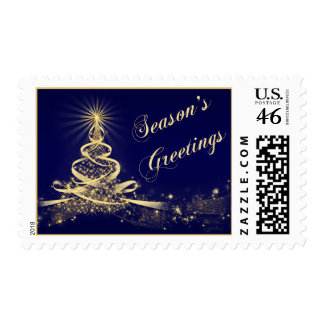 Navy, Gold Lighted Tree Happy Holidays Postage
