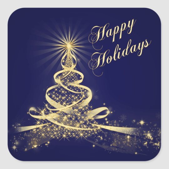 Navy, Gold  Lighted Tree Happy Holidays Sticker