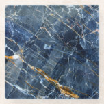 """Navy Gold Marble Glass Coaster<br><div class=""""desc"""">Subdued blue marble with gold inclusions</div>"""