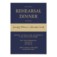 Navy & gold modern rehearsal dinner invitations