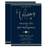 Navy & Gold  - Modern Wedding Invitation