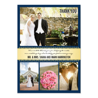 Navy Gold Multi-photo Wedding Thank You Cards