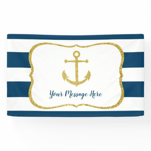 Navy & Gold Nautical Anchor Bridal Shower Banner