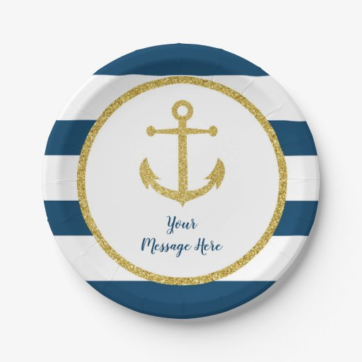 Navy & Gold Nautical Anchor Bridal Shower Paper Plate
