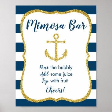 Art Themed Navy & Gold Nautical Bridal Mimosa Bar Sign