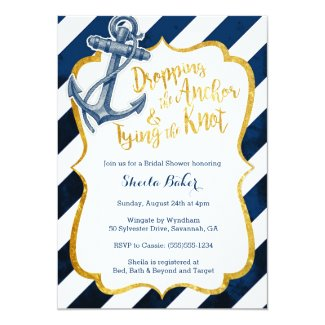 Navy & Gold Nautical Bridal Shower Invitation