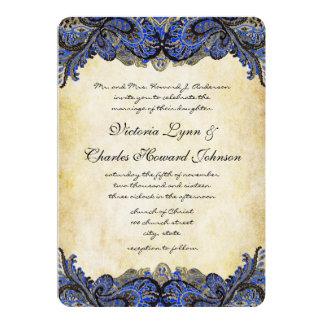 "Navy & Gold Paisly Peacock Wedding Invitation 5"" X 7"" Invitation Card"