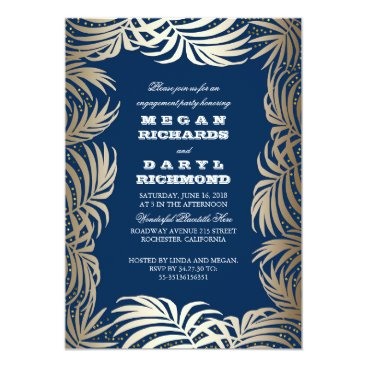 Beach Themed Navy - Gold Palm Leaf Beach Engagement Party Card