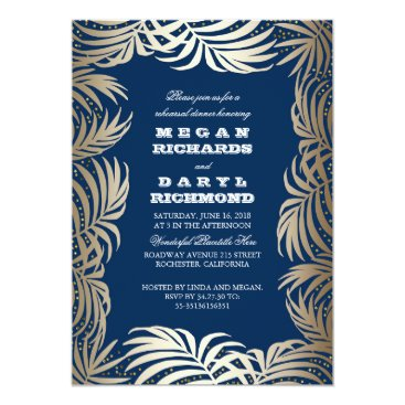 Beach Themed Navy - Gold Palm Leaf Beach Rehearsal Dinner Card