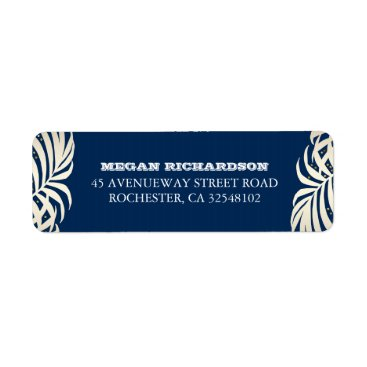 Beach Themed Navy Gold Palm Leaves Beach Wedding Label