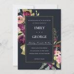 NAVY GOLD PINK BURGUNDY ROSE FLORAL WEDDING INVITE