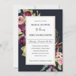 NAVY GOLD PINK RED ROSE FLORA BRIDAL SHOWER INVITE