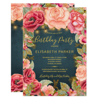 Navy gold pink roses lights birthday party card