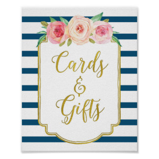Navy Gold Pink Watercolor Floral Cards Gifts Sign