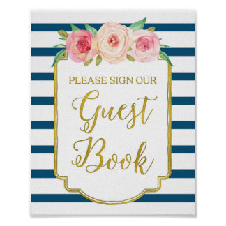 Navy Gold Pink Watercolor Floral Guest Book Sign