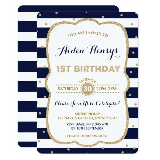 Navy Gold Royal Prince 1st Birthday Invitation Zazzle Com